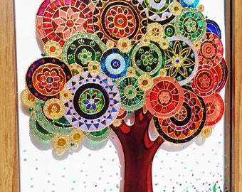 "Tree art 12""x15"" Tree of life Glass painting Glass art Painted glass Bohemian decor Wall decor"