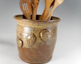 Ceramic kitchen utensils holder, ceramic utensil holder, large pottery utensil pot, stoneware utensil holder with black walnut detail