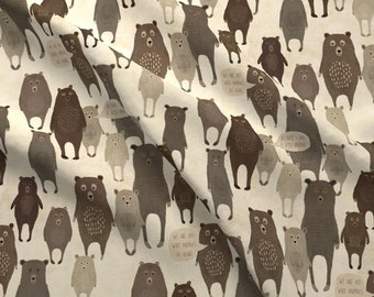 Standing Bears Fabric - Because I Am A Wild Animal By Katherine Quinn - Bears Animals Woodland Cotton Fabric By The Yard With Spoonflower