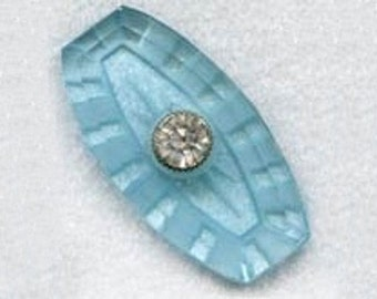 Vintage Glass and Rhinestone Cabochon in the Palest of Blues