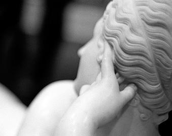 Aphrodite // Black & White Fine Art Film Photography // White Neoclassical Statue // Square Photo Print