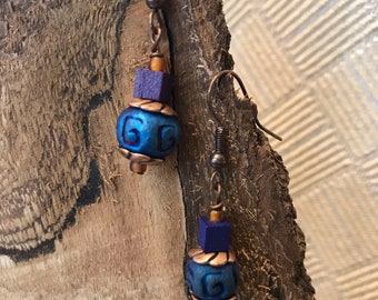 Royal Blue Raku & Copper Earrings