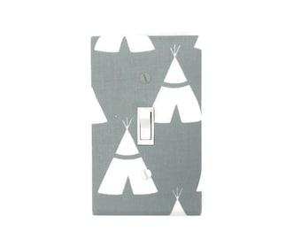 Teepee Light Switch Cover - Woodland Switch Plate Cover - Grey Teepee Nursery Decor