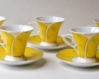 Italian Demitasse Set, Porcelain Cups and Saucers, Set of 5, Yellow Porcelain Demitasse Cups, Peacock Feathers