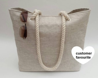 Beach bag in linen effect matt oilcloth, 100% waterproof & wipe clean, Beach bag, Beach tote, Beach bag tote, Oilcloth beach bag, Tote