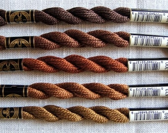 DMC Pearl Cotton Size 3 Threads (Earthy Brown Group)
