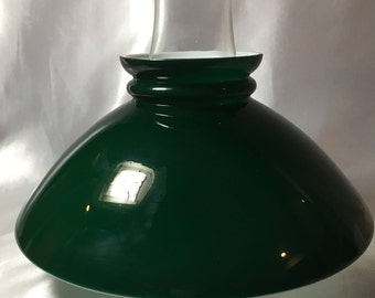 Emerald Green Cased Lamp Shade; oil lamp, hurricane lamp, green shade, emerald green