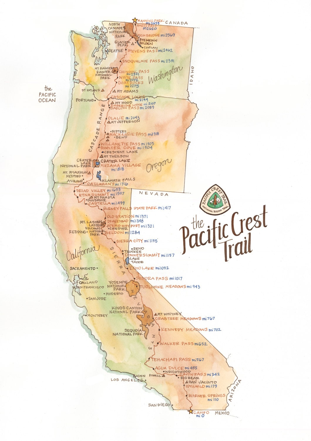 🔎zoom. pacific crest trail map  archival print