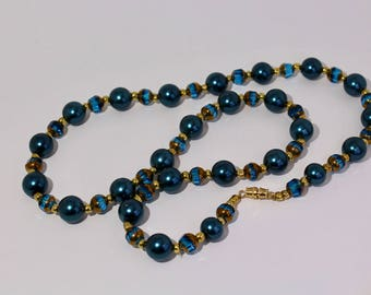 Necklace: Turquoise and Gold Long Beaded Necklace