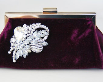 Velvet Clutch with rhinestone purple