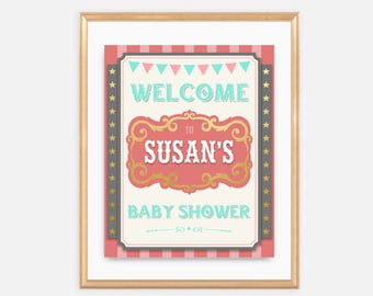 Circus - Welcome Baby Shower Sign, Baby Shower Signage, carnival, fair, vintage, soft pink, red, teal, aqua, colorful, fun, cute, 047