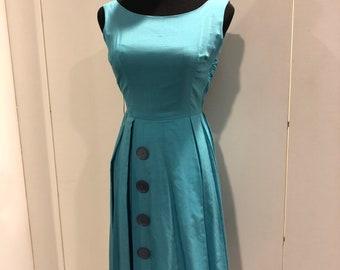 1950s blue silk pleated frock