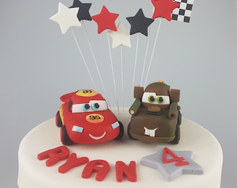 Cars Lightening Mcqueen Tow Mater Cake Topper Edible 3D Disney Inspired Name Age Figurines Birthday Party Decorations