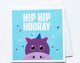 Hip Hip Hooray Birthday Card / Animal Birthday Card / Children's Birthday Card / Zoo Themed / Kids Cards / Hippo Card