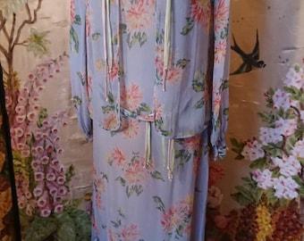 1930s Blue chiffon floral tea dress