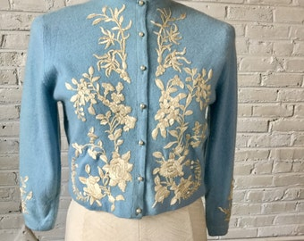 Vintage 1950s Robin's Egg Blue Embellished Cashmere Cardigan (attributed to Helen Bond Carruthers), size S