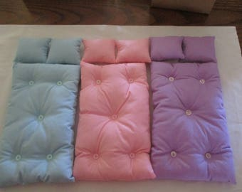 Handmade Barbie Doll Bed Double Mattress and Pillow Set