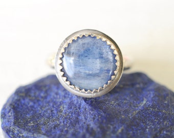 35% SALE! Blue Kyanite Sterling silver ring / Handmade boho bohemian minimalist jewelry