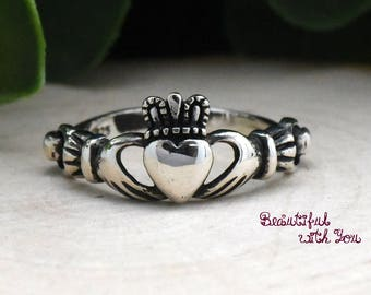 Celtic Claddagh Ring Silver, Silver Claddagh Ring, Simple Claddagh Ring, Irish Celtic Ring, Heart Claddagh Ring, Womens Claddagh Ring Silver