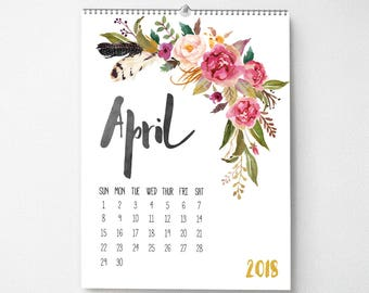 2018 Monthly Wall Calendar, 11x14, Wall Calendar, Watercolor Flower Gifts for Her  (cal0001)