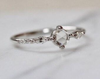 """14K Gold Rosecut """"Georgia"""" Diamond Ring, Rose Cut Marquise Diamond Ring, White Gold, Rose Gold, Yellow Gold, Engagement Ring, Diamond Ring"""