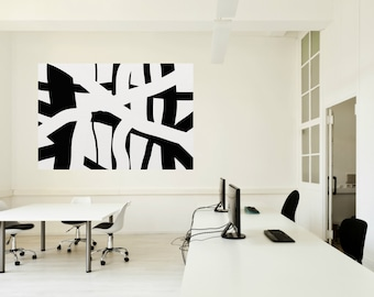 black and white Abstract Art, Hand Made Acrylic Painting Minimalist Art, Abstract Painting On Canvas, Modern Art Abstract Classic Wall Art