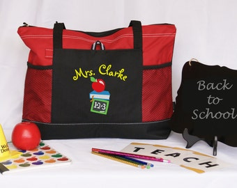 Personalized teacher tote bag ,graduation gift, honor and appreciation gift, red, blue, green, pink embroidered apple abc pencil side pocket