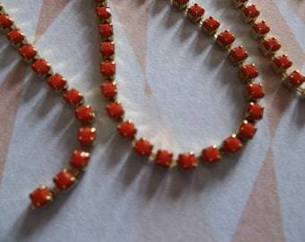 2mm Coral Red Rhinestone Chain - Brass Setting - Preciosa Czech Crystals
