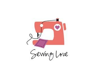 Sewing logo, sewing machine logo, patchwork logo, dressmaking logo, custom logo, business logo, instant logo, instant logo download.