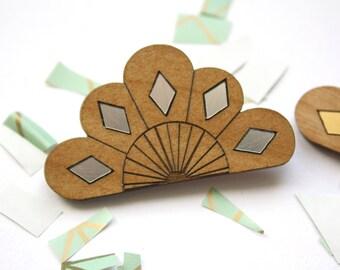 Wooden brooch, flower badge, geometric modern wedding jewelry, bridemaids gift, wood accessory, women jewel, art deco style, made in France
