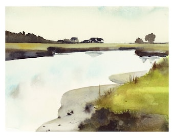 landscape painting, landscape art- landscape watercolor- Maine Salt Marsh - Watercolor Print