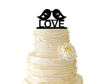 Two Love Birds With Love Acrylic or Baltic Birch Wedding/Special Event Cake Topper - 004