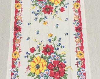 Vintage Towel Garden of Red Wild Roses MWT Kitchen Tea Towel
