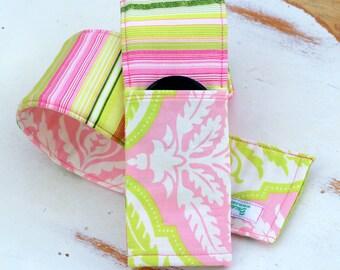 SLR DSLR Camera Strap Cover - Padded camera strap cover - reversible - lens pocket - pink green white - gift for photographer - preppy gift