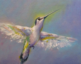 Hummingbird in Soft Light - original daily painting by Kellie Marian Hill