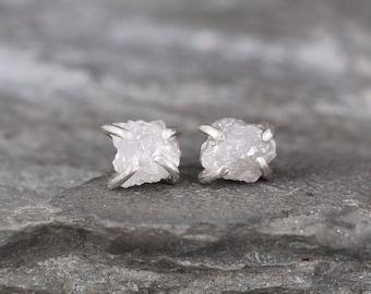 Uncut Diamond Earrings -  1 Carat - Sterling Silver Stud Earring - April Birthstone - Rough Raw Diamond Gemstone Earring - Made in Canada