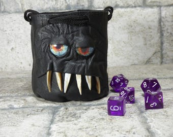 Dice Bag Marble Bag Fairy Pouch With Monster Face RPG LARP Drawstring Bag Rune Bag Magic The Gathering Gamer Gift Black Leather 825
