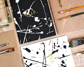 Hello/ Hola Fine Art Set (Set of 2)  -  Screen Printed w/ Metallic Gold Ink & White/ Black Splatter Pattern Details Kraft Envelope