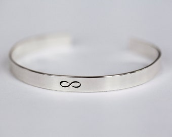 Sterling, Gold, Rose Gold Infinity Bracelet - Infinity Cuff Bracelet - Metal Stamped Bracelet - Sterling Silver Jewelry - Infinity Jewelry
