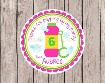 Bubbles Birthday Party Favor Tags or Stickers / Pink, Green and Yellow Tags or Stickers / Cute Party Favor for a Summer Party / Set of 12