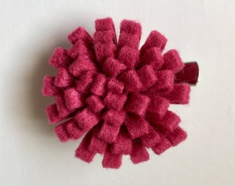 Felted Flower  2 Way Clip - Small Hair clip and Brooch Pin - Dark Pink, Hair Accessory, Felted Flower Brooch, Felted Flower Small Hair Clip