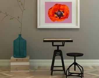 "Orange and Purple Poppy Print with Contrasting Purple Background 8"" x 10"" (digital download)"