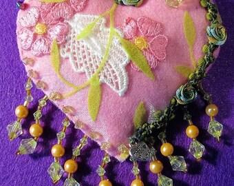 Pink heart shaped felt brooch