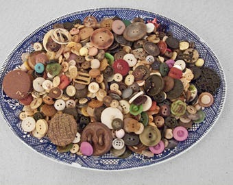 Huge BUTTON Lot Vintage 20s to 90s Era Rainbow 300+ Crafting Sewing