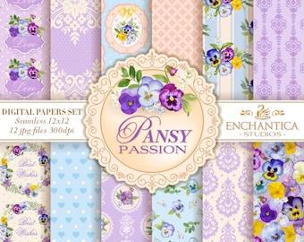 Pansy Digital Paper, Digital Paper Pansy, Pansy Patterns, Floral Digital Paper, Digital Paper Floral, Vintage Pansies Scrapbook Background