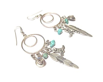 Vintage Southwest Sterling Silver and Turquoise Hoop Earrings with Dangles