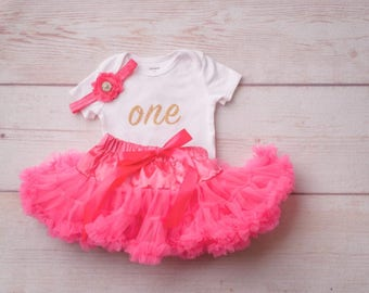 First Birthday Outfit Girl, Cake Smash Outfit, Girls First Birthday, Tutu and Headband Set, First Birthday Girl, One Outfit, Photo Props