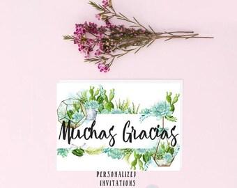 DIGITAL CARD Cactus Thank You Card Muchas Gracias Card Cacti Thanks Thank You Card Muchas Gracias Amigo Fiesta Card Thank You Cards
