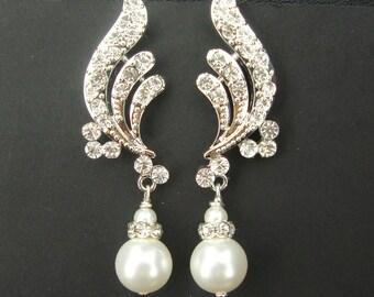 Art Deco Style Rhinestone Bridal Earrings, Old Hollywood Glamour, Crystal and Swarovski Pearl Wedding Earrings, Pearl Drop Earrings, NADIA