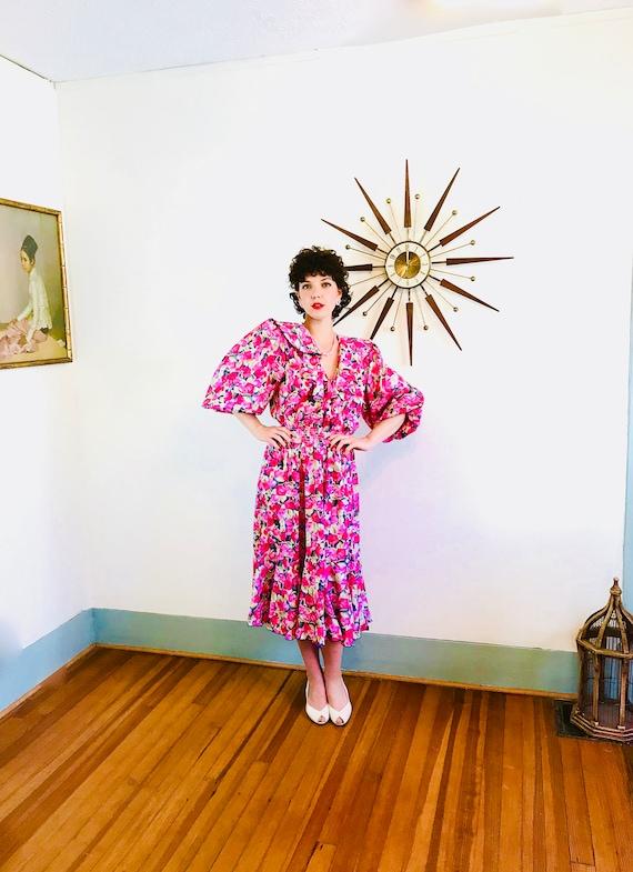 DIANE FREIS dress, 80s Floral Dress, Pink Red Rose Print, Flowy Ruffle Dress, Gypsy Boho dress, hippie Scarf dress,Vintage 1980s dress, Sz M